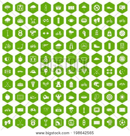 100 cycling icons set in green hexagon isolated vector illustration