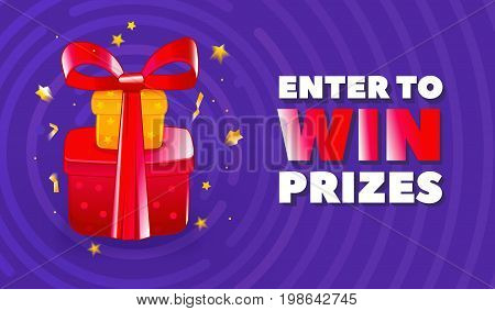 Text ENTER TO WIN PRIZES, confetti, purple circles as background. Festive lottery promotion concept