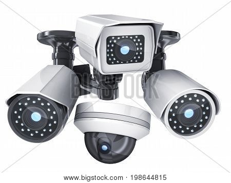 CCTV camera on white isolated background. 3d illustration