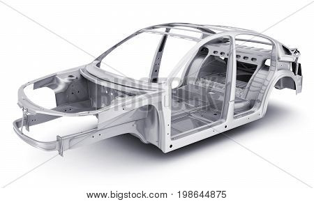 Only stell body car chassis. 3d illustration