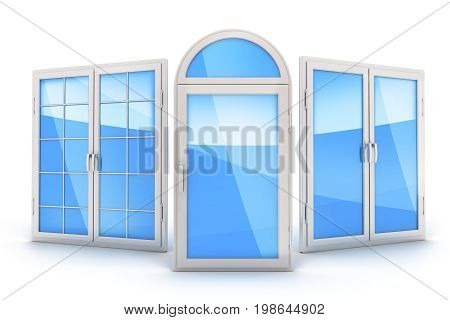 Three window on isolated white background. 3d illustration