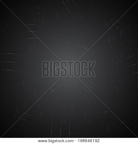 abstract black old vintage metal plate with claw scratch texture background with copyspace vector illustration