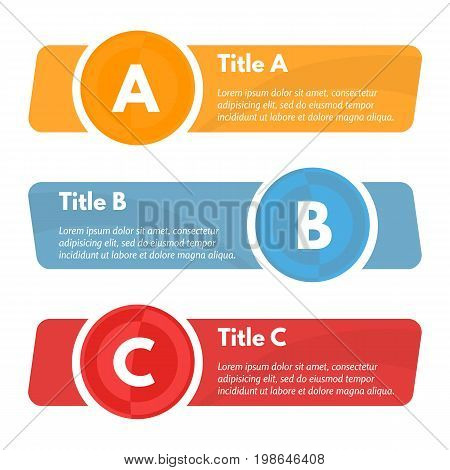 Set of three horizontal colorful options banners. Step by step infographic design template. Vector illustration