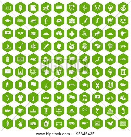 100 geography icons set in green hexagon isolated vector illustration