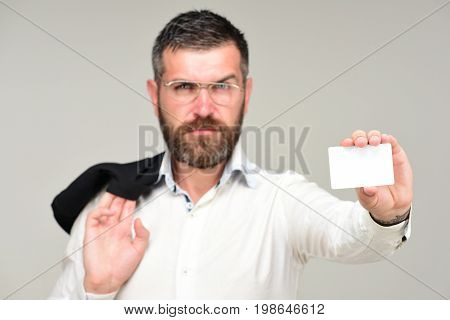 Man With Beard Holds White Card. Success And Business Introduction