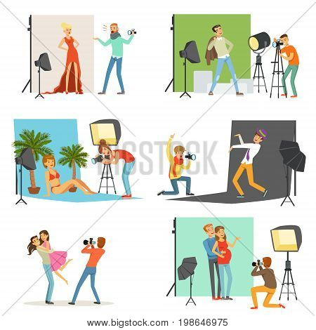 Photo studio set, photographers taking pictures of different people with professional photographic equipment vector Illustrations isolated on white background