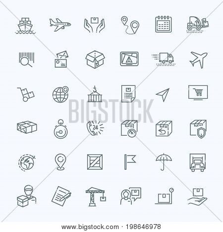 Fast delivery and quality service transportation. Shipping vector icons for logistic company.