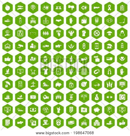 100 hand icons set in green hexagon isolated vector illustration