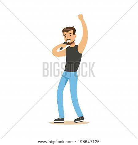 Singer man performing a song vector Illustration on a white background