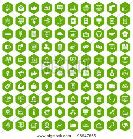 100 help desk icons set in green hexagon isolated vector illustration