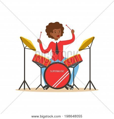 Young black woman playing on drums, guy behind the drum kit vector Illustration on a white background