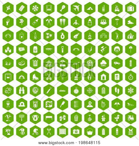 100 holidays family icons set in green hexagon isolated vector illustration