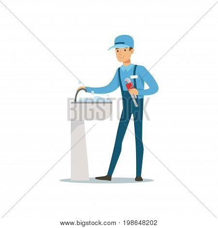 Proffesional plumber man character with monkey wrench repairing faucet tap, plumbing work vector Illustration on a white background