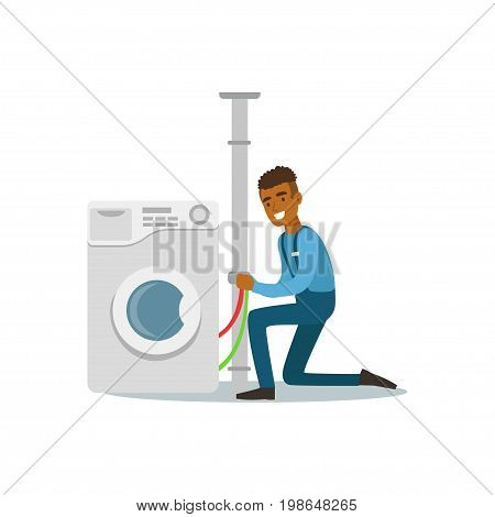 Proffesional plumber man character installing washing machine, plumbing work vector Illustration on a white background