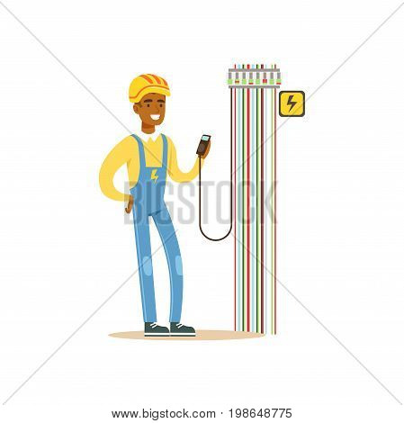 Professional electrician man character measuring the voltage output in fuse box, electrical works vector Illustration isolated on a white background