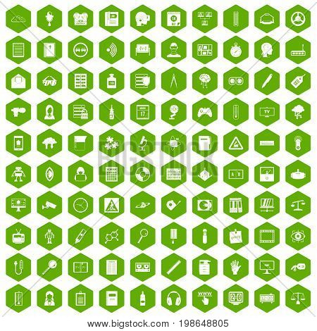 100 information icons set in green hexagon isolated vector illustration