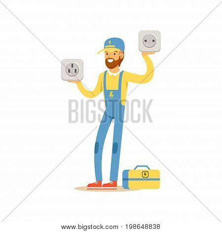 Professional electrician man character standing and holding big sockets, electrical works vector Illustration isolated on a white background
