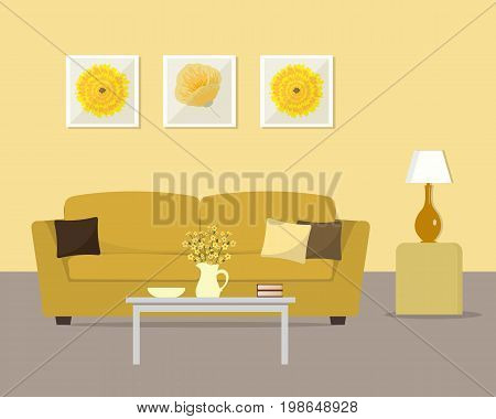 Living room in a yellow colors. There is a sofa with pillows, a table with flowers, a lamp and other objects in the image. There are also pictures in frames on the wall. Vector flat illustration.