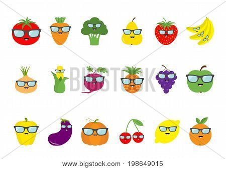 Fruit berry vegetable face sunglasses icon set. Pear strawberry banana pineapple grape apple cherry lemon orange. Pepper tomato carrot broccoli onion sweet corn beet eggplant pumpkin Vector
