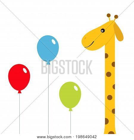 Three balloons. Giraffe with spot. Zoo animal. Cute cartoon character. Long neck. Wild savanna jungle african animals collection. Education cards for kids. Isolated White background Flat design Vector