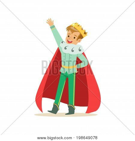 Cute happy boy prince in a golden crown and red cloak, fairytale costume for party or holiday vector Illustration isolated on a white background