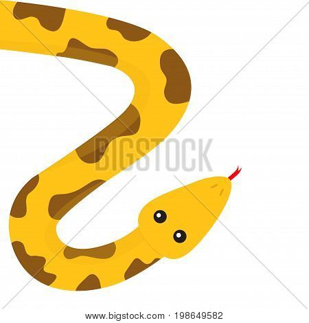 Yellow python snake red tongue. Golden crawling serpent with brown spot. Cute cartoon character. Flat design. Isolated. White background. Vector illustration