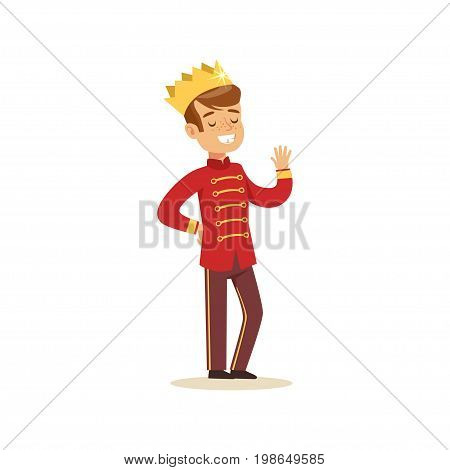 Cute little boy wearing in a red prince costume, fairytale costume for party or holiday vector Illustration isolated on a white background
