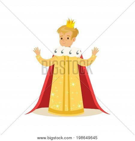 Cute little blonde boy wearing a king costume, fairytale costume for party or holiday vector Illustration isolated on a white background