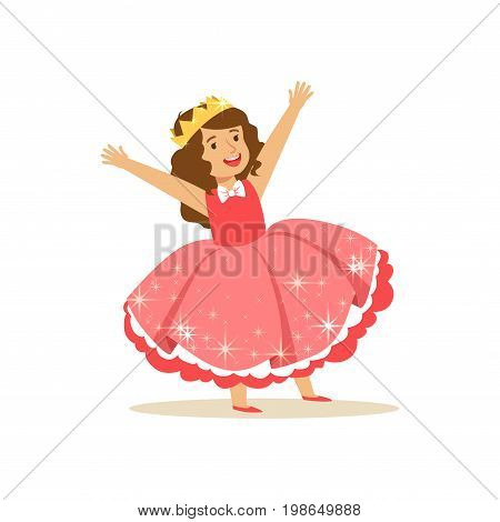 Beautifull little girl princess in a coral red ball dress and golden tiara, fairytale costume for party or holiday vector Illustration isolated on a white background