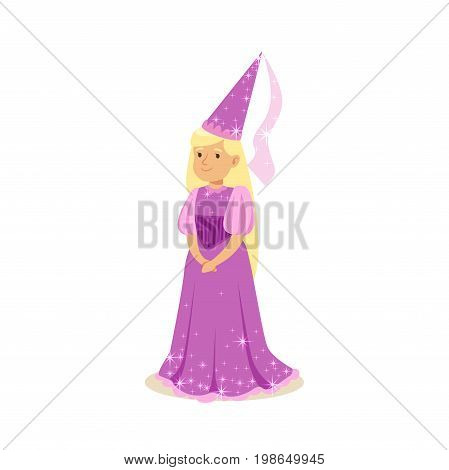 Beautifull blonde little girl princess in a purple ball dress and pointed hat, fairytale costume for party or holiday vector Illustration isolated on a white background