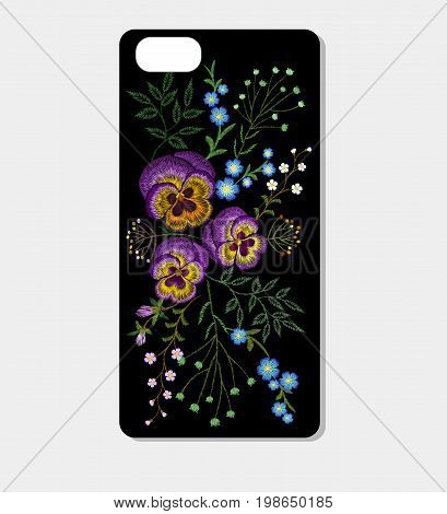 Wild field flower embroidery smartphone skin case design template. Rustic pansies small herb branches fashion decoration patch vector illustration art
