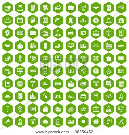 100 lending icons set in green hexagon isolated vector illustration