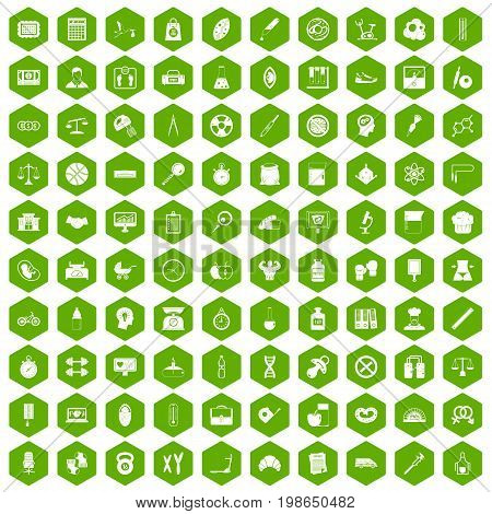 100 libra icons set in green hexagon isolated vector illustration