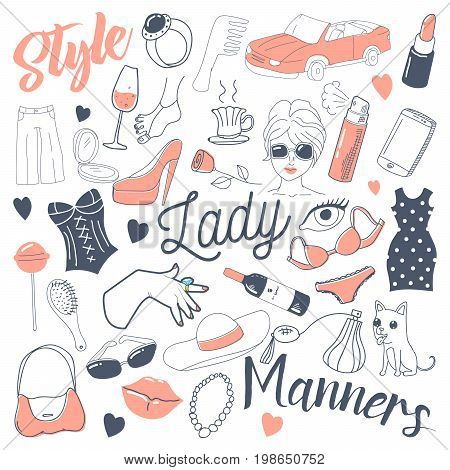 Woman Lifestyle Freehand Doodle. Hand Drawn Female Accessories and Makeup. Vector illustration