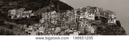 Italian style resident buildings over cliff panorama in Manarola in Cinque Terre, Italy.
