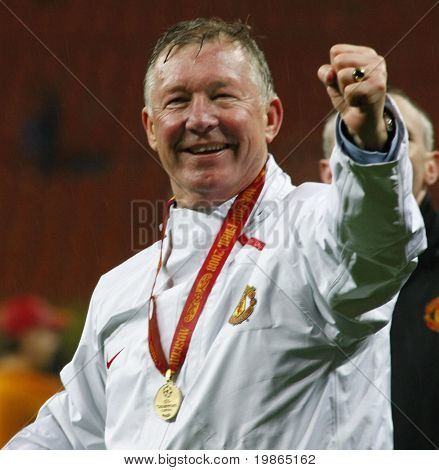 Sir Alex ferguson at the Champions League Final held at Luzhniki Stadium Moscow 21 May 2008 and contested by Manchester United v Chelsea FC