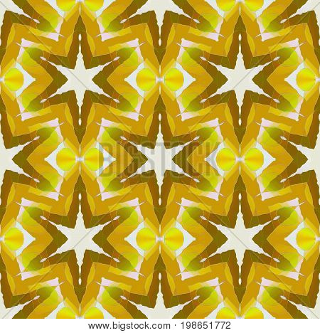 Abstract geometric seamless background. Regular shifted star pattern white, yellow, ocher, brown lime green and olive green, ornate and dreamy.