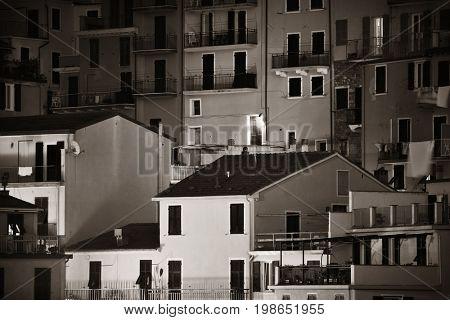Abstract Italian style building closeup background in Manarola, Cinque Terre, Italy.