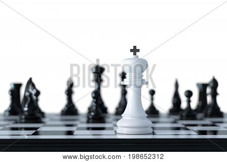 Leader and teamwork concept for success. Chess business concept. 3d rendering illustration