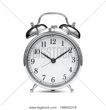 Old Chrome Fashioned Alarm Clock Isolated