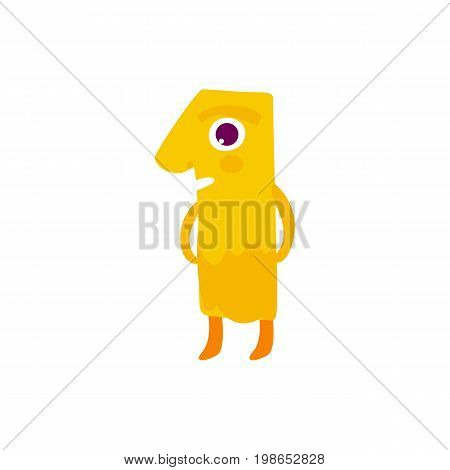 Vector cute animallike character number one 1. Flat cartoon illustration on a white background. Happy birthday, new year decorative numbers. Funny smiling colored math, education symbols
