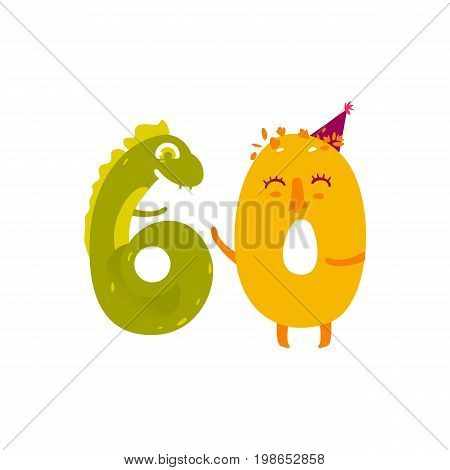 Vector cute animallike character number sixty 60. Six dozens Flat cartoon illustration on a white background. Happy birthday, new year decorative numbers. Funny smiling colored math, education symbols