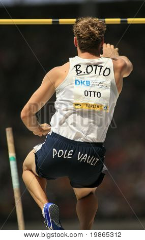 Bjorn Otto Germany competes in the pole vault at the Istaf Berlin International Golden League Athletics held at Berlin's Olympia Stadium (Olympic Stadium) 1st June 2008