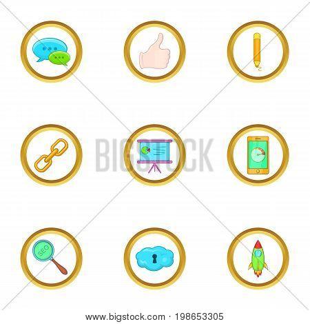 Business marketing icons set. Cartoon set of 9 business marketing vector icons for web isolated on white background