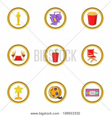 Cinema equipment icons set. Cartoon set of 9 cinema equipment vector icons for web isolated on white background