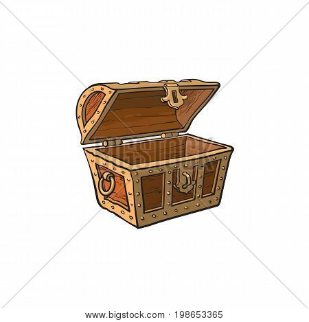 vector opened empty wooden treasure chest. Isolated illustration on a white background. Flat cartoon symbol of adventure, pirates, risk profit and wealth.