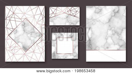 Marble brochure layout, corporate identity set, business card template or background in trendy minimalistic geometric style, stone, granite, gold texture, vector fashion wallpaper, poster, cover