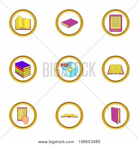 Ebook icons set. Cartoon set of 9 ebook vector icons for web isolated on white background
