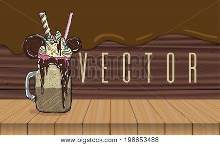 cartoon Style Milkshake with cookies chocolate ice cream and candys. Wooden and chocolate flow background.