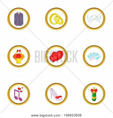 Wedding things icons set. Cartoon set of 9 wedding things vector icons for web isolated on white background